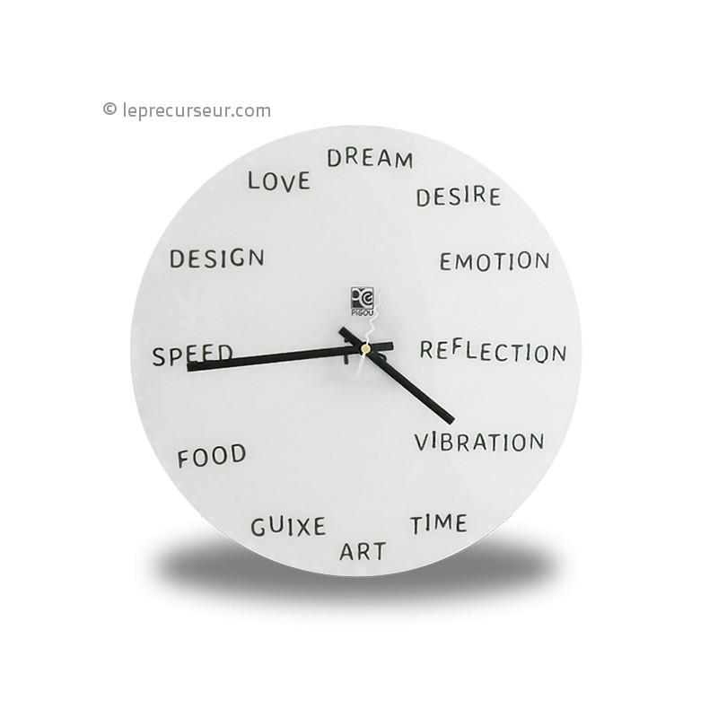 horloge murale mots en anglais. Black Bedroom Furniture Sets. Home Design Ideas