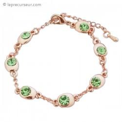 Bracelet fantaisie doré et pierres vertes