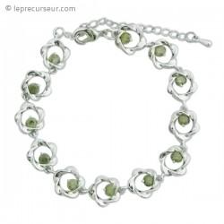 Bracelet aux 12 fleurs argent et vert olive