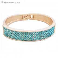 Bracelet de 12mm de large aux strass turquoise