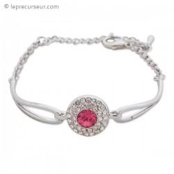 Bracelet argenté disque de strass et pierre rose