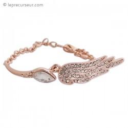 Bracelet doré semi-rigide, strass et faux cristal clair