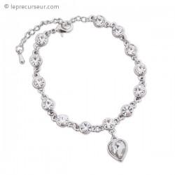 Bracelet tout argenté, écrins et cœur en cristaux blancs