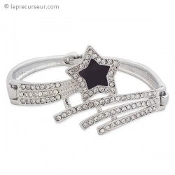 Bracelet étoile filante en strass et intérieur noir