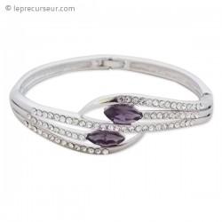 Bracelet argenté double fausse pierre violette