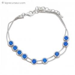 Bracelet aux 9 fausse pierres bleues coulissantes