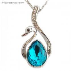 Collier pendentif cygne argenté, strass et turquoise