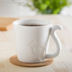 Tasse chat avec anse queue d'animal en porcelaine