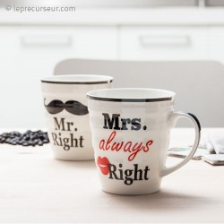Duo de tasses Monsieur et Madame Right en céramique