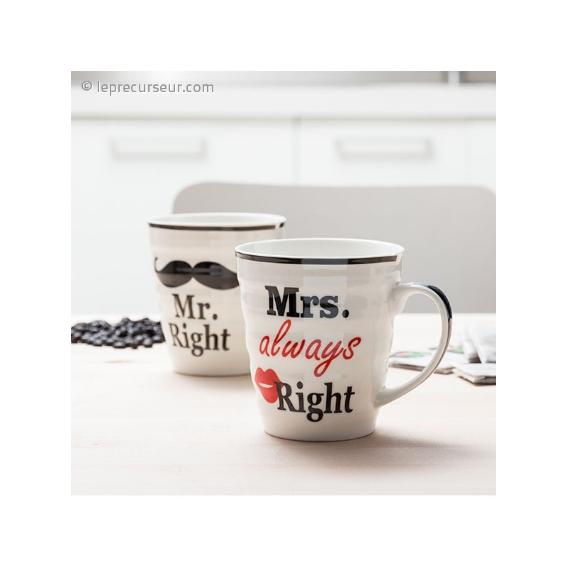 duo de tasses monsieur et madame right en c ramique. Black Bedroom Furniture Sets. Home Design Ideas