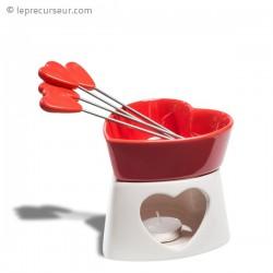 Fondue à chocolat en forme de cœur