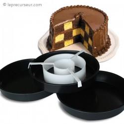 Kit 3 moules à gâteau avec séparateur pour effet damier